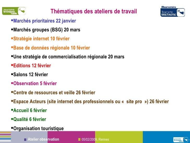 <ul><li>Thématiques des ateliers de travail </li></ul><ul><li>Marchés prioritaires 22 janvier </li></ul><ul><li>Marchés gr...