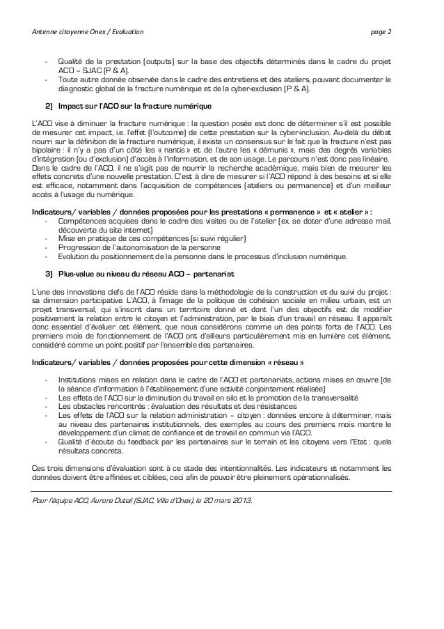 Évaluation du projet Antenne citoyenne d'Onex: propositions évolutives Slide 2