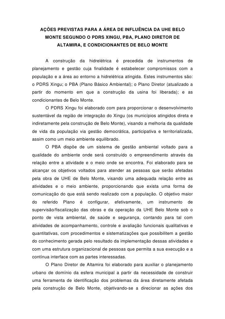 AÇÕES PREVISTAS PARA A ÁREA DE INFLUÊNCIA DA UHE BELO      MONTE SEGUNDO O PDRS XINGU, PBA, PLANO DIRETOR DE            AL...