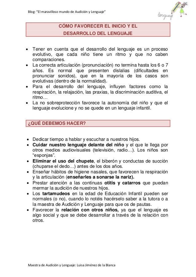 """Blog: """"El maravilloso mundo de Audición y Lenguaje"""" Maestra de Audición y Lenguaje: Luisa Jiménez de la Blanca CÓMO FAVORE..."""