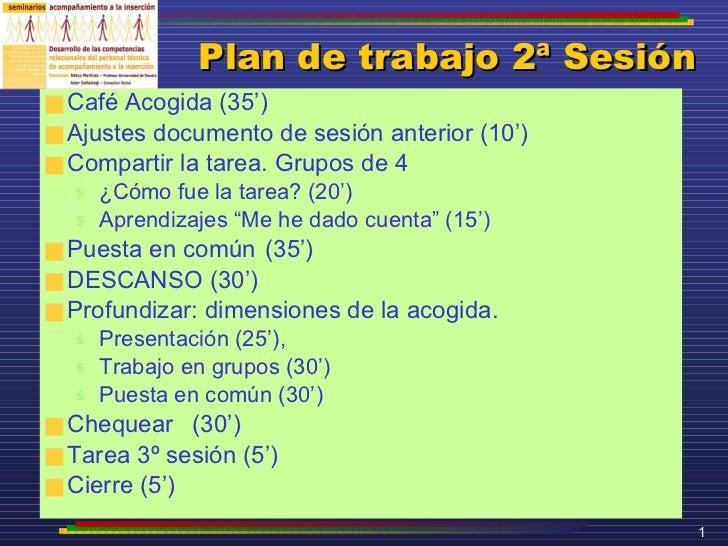 Plan de trabajo 2ª Sesión <ul><li>Café Acogida (35') </li></ul><ul><li>Ajustes documento de sesión anterior (10') </li></u...