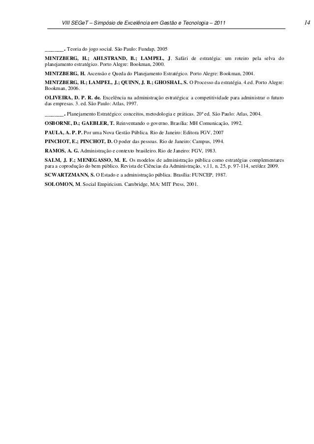 VIII SEGeT – Simpósio de Excelência em Gestão e Tecnologia – 2011                                        14               ...