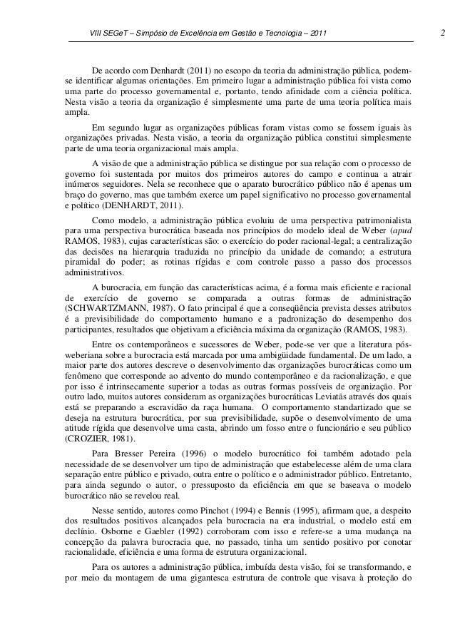 VIII SEGeT – Simpósio de Excelência em Gestão e Tecnologia – 2011                            2       De acordo com Denhard...