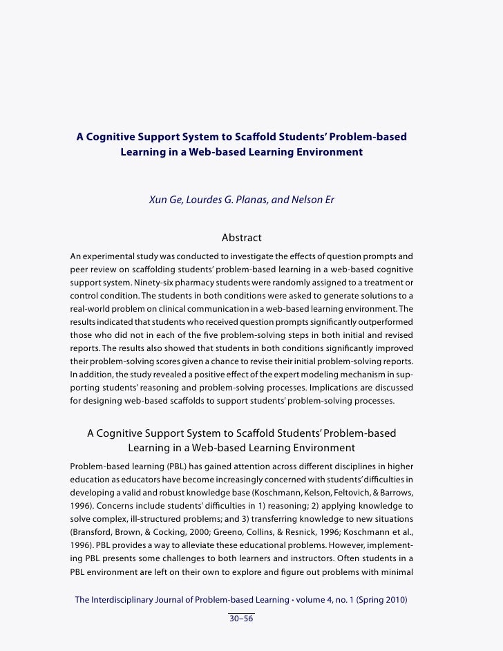 A Cognitive Support System to Scaffold Students' Problem-based         Learning in a Web-based Learning Environment       ...