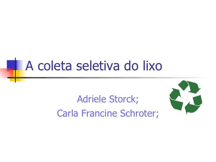 A coleta seletiva do lixo Adriele Storck; Carla Francine Schroter;