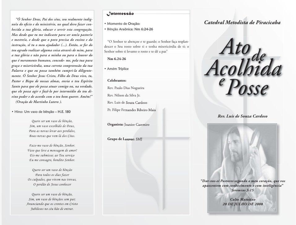 "Catedral Metodista de Piracicaba         Ato de    Acolhida     e       Posse           Rev. Luis de Souza Cardoso     ""Da..."
