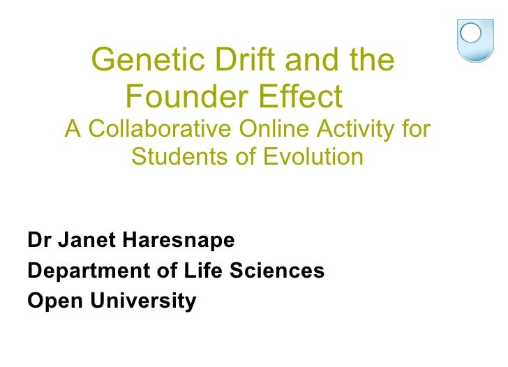 Genetic Drift and the  Founder Effect  A Collaborative Online Activity for Students of Evolution <ul><li>Dr Janet Haresnap...