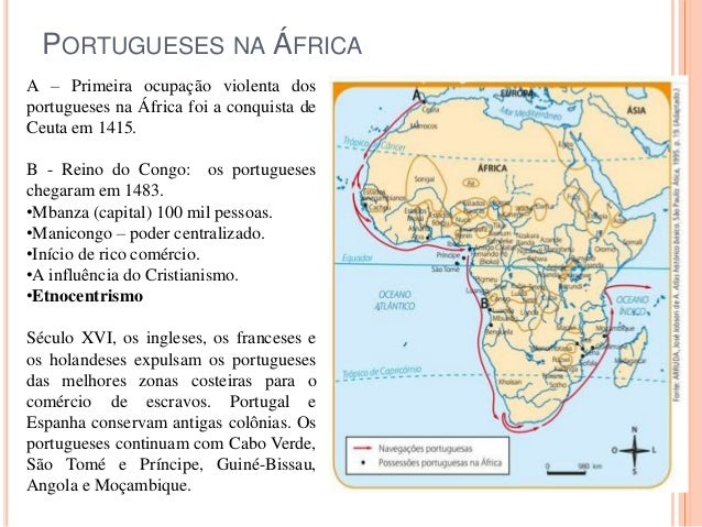 PORTUGUESES NA ÁFRICA A – Primeira ocupação violenta dos portugueses na África foi a conquista de Ceuta em 1415. B - Reino...