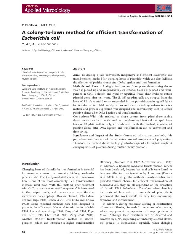 Letters in Applied Microbiology ISSN 0266-8254ORIGINAL ARTICLEA colony-to-lawn method for efficient transformation ofEscher...