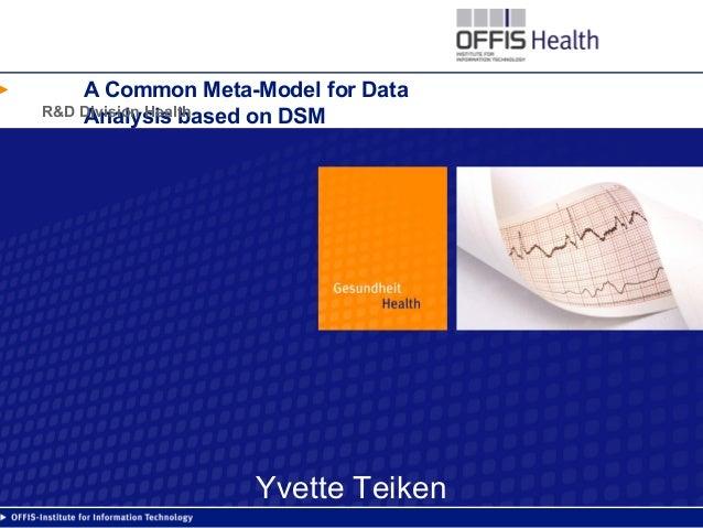 A Common Meta-Model for Data Analysis based on DSMR&D Division Health Yvette Teiken