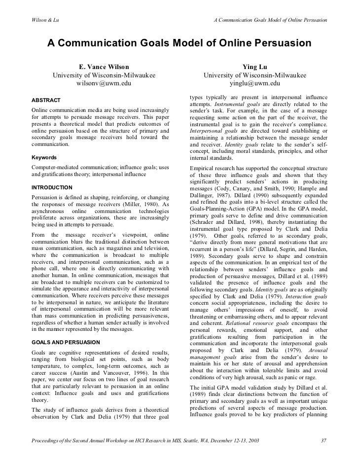 Wilson & Lu                                                                    A Communication Goals Model of Online Persu...