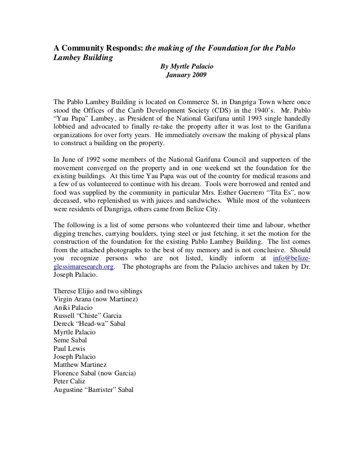 A Community Responds: the making of the Foundation for the PabloLambey Building                                      By My...