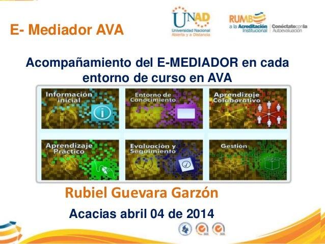 E- Mediador AVA Rubiel Guevara Garzón Acacias abril 04 de 2014 Acompañamiento del E-MEDIADOR en cada entorno de curso en A...