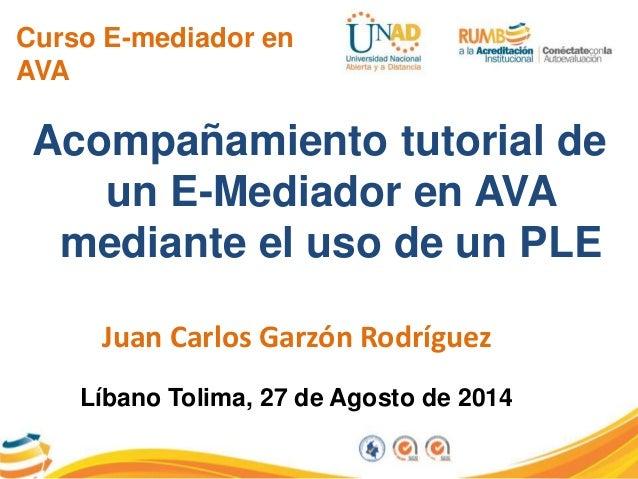 Curso E-mediador en  AVA  Acompañamiento tutorial de  un E-Mediador en AVA  mediante el uso de un PLE  Juan Carlos Garzón ...