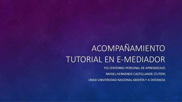 ACOMPAÑAMIENTO  TUTORIAL EN E-MEDIADOR  PLE (ENTORNO PERSONAL DE APRENDIZAJE)  RAFAEL HERNÁNDE CASTELLANOS (TUTOR)  UNAD U...