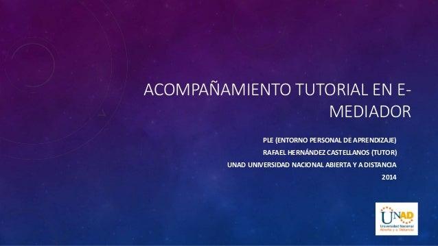 ACOMPAÑAMIENTO TUTORIAL EN E-MEDIADOR  PLE (ENTORNO PERSONAL DE APRENDIZAJE)  RAFAEL HERNÁNDEZ CASTELLANOS (TUTOR)  UNAD U...
