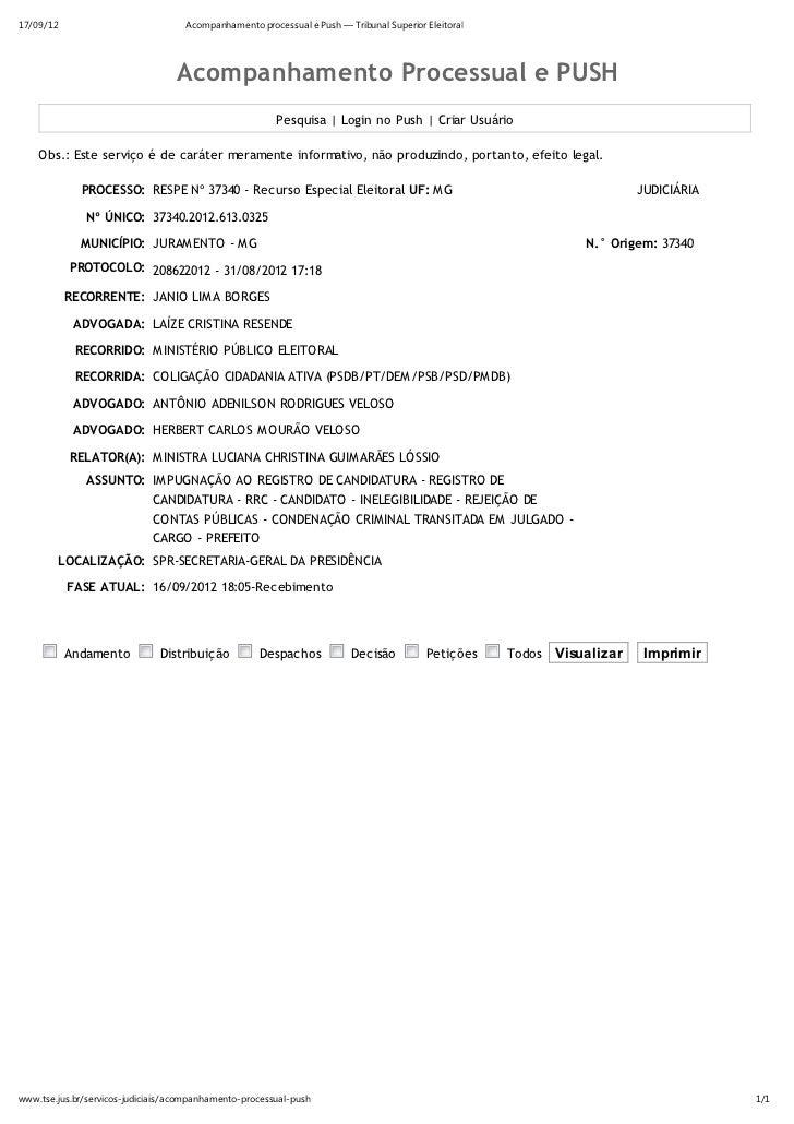 17/09/12                            Acompanhamento processual e Push — Tribunal Superior Eleitoral                        ...