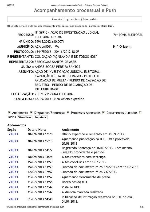 18/09/13 Acompanhamento processual e Push — Tribunal Superior Eleitoral www.tse.jus.br/servicos-judiciais/acompanhamento-p...