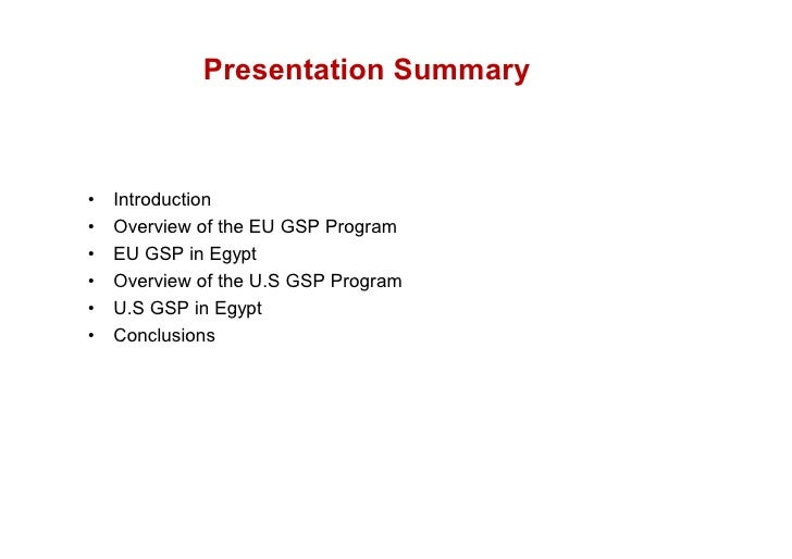 A comparative analysis of eu an us gsp policies in egypt volkan emre [compatibility mode] Slide 2