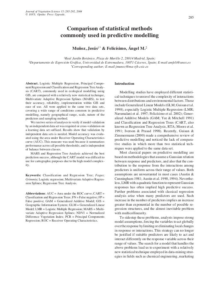 Journal of Vegetation Science 15: 285-292, 2004© IAVS; Opulus Press Uppsala.                       - Comparison of statist...