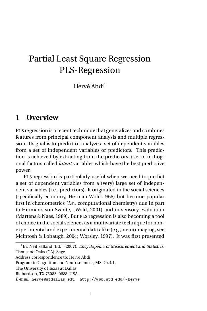 Partial Least Square Regression                PLS-Regression                              Hervé Abdi11 OverviewP LS regre...