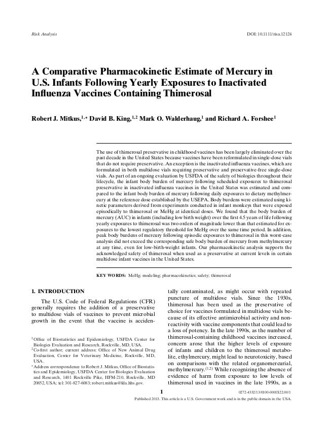 Risk Analysis  DOI: 10.1111/risa.12124  A Comparative Pharmacokinetic Estimate of Mercury in U.S. Infants Following Yearly...