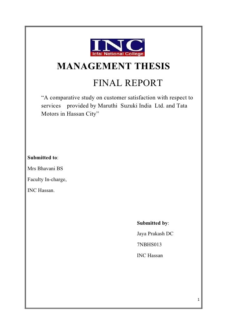 Master thesis customer satisfaction