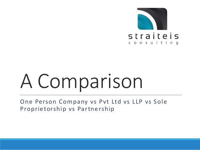 A Comparison  One Person Company vs Pvt Ltd vs LLP vs Sole  Proprietorship vs Partnership