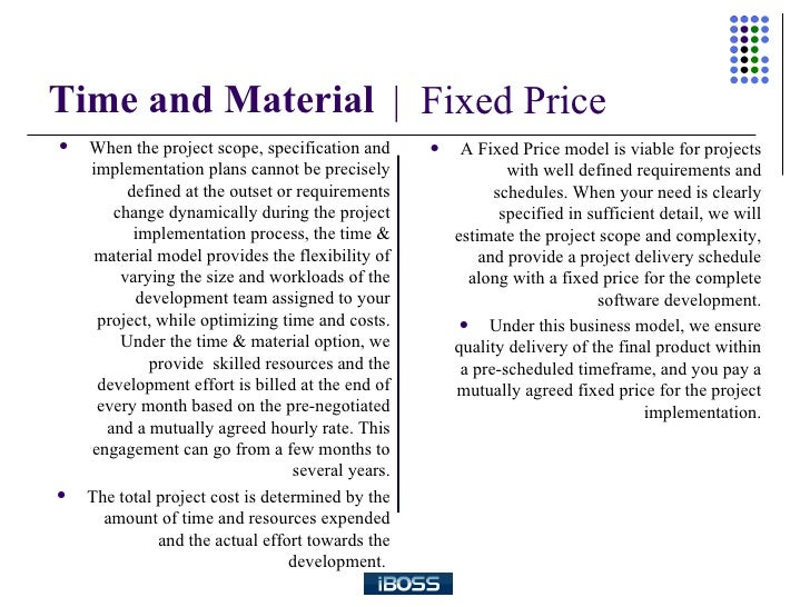 A comparison between time and material and fixed bid for Fixed price construction contract template