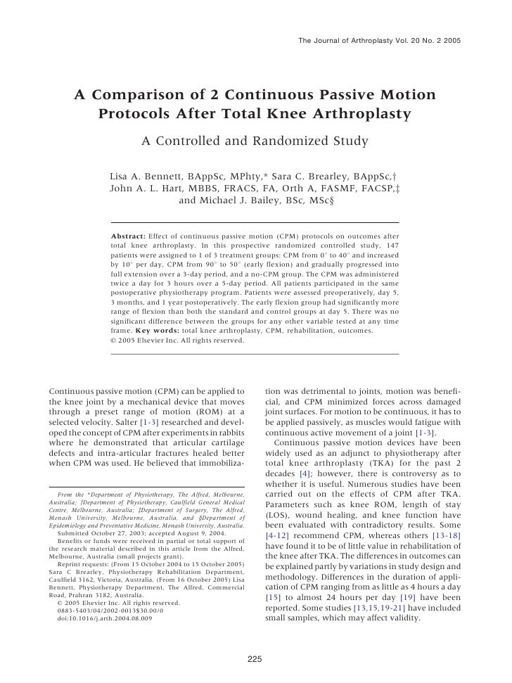 The Journal of Arthroplasty Vol. 20 No. 2 2005        A Comparison of 2 Continuous Passive Motion           Protocols Afte...