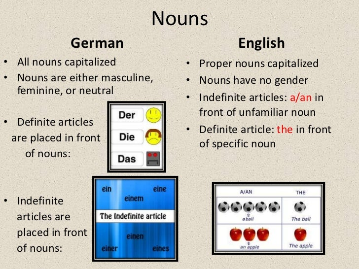 similarities and differences between the english and german language The difference between the two languages crystallizes in the competition between compounds and phrases  the heavier use of nouns and adjectives in german than in english might be partly  languages in contrast vol.