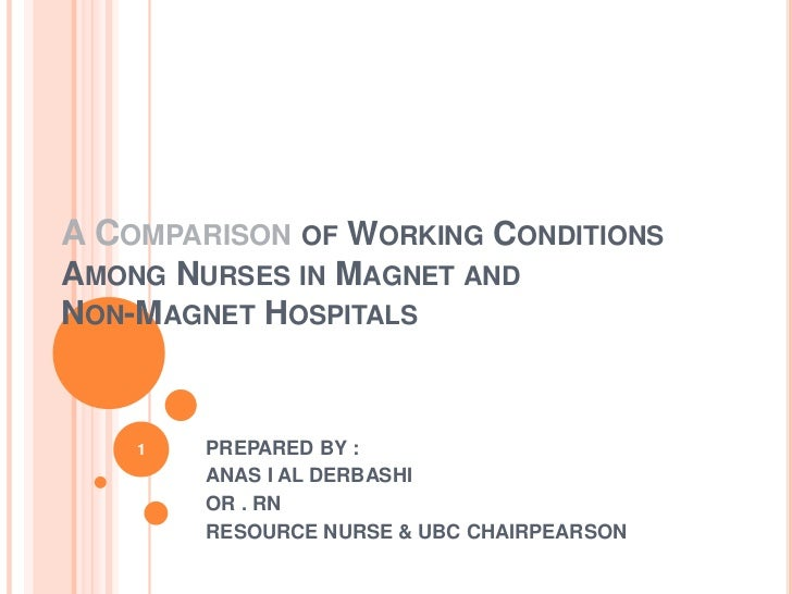 A Comparison of Working ConditionsAmong Nurses in Magnet andNon-Magnet Hospitals<br />PREPARED BY :<br />ANAS I AL DERBASH...