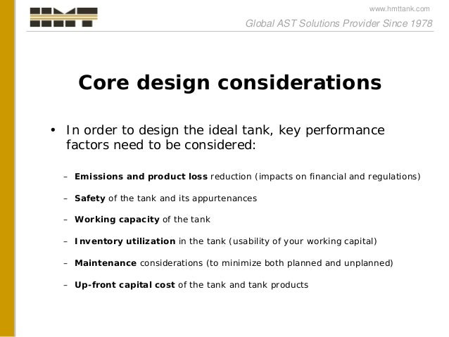 A comprehensive approach to tank design and tank equipment selection Slide 3