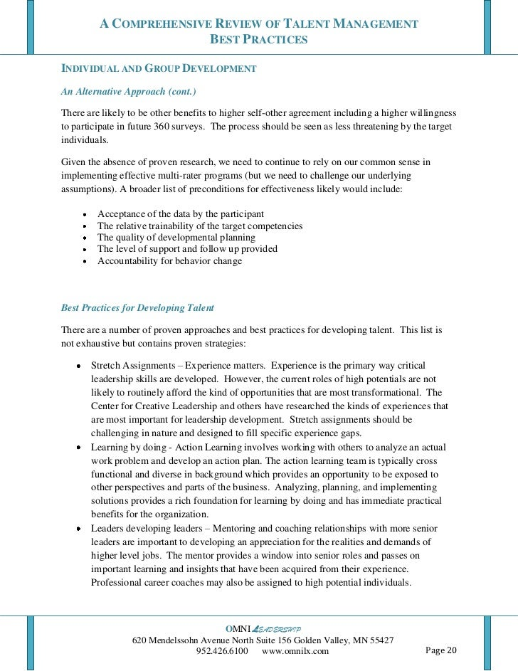 A Comprehensive Review Of Talent Management Best Practices 10 25 11