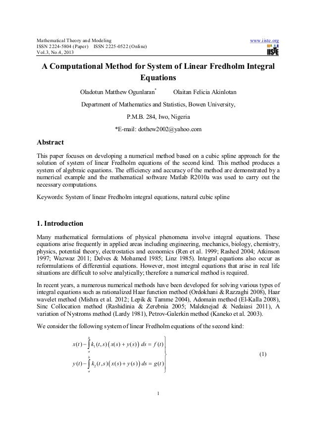 Mathematical Theory and Modeling www.iiste.orgISSN 2224-5804 (Paper) ISSN 2225-0522 (Online)Vol.3, No.4, 20131A Computatio...