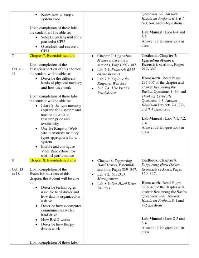 A Computer Maintenance Course Syllabus 2010