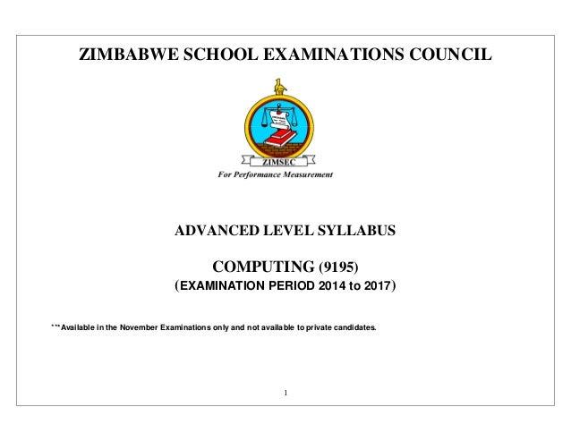 Computing 9195 Zimbabwe Zimsec syllabus Cambridge