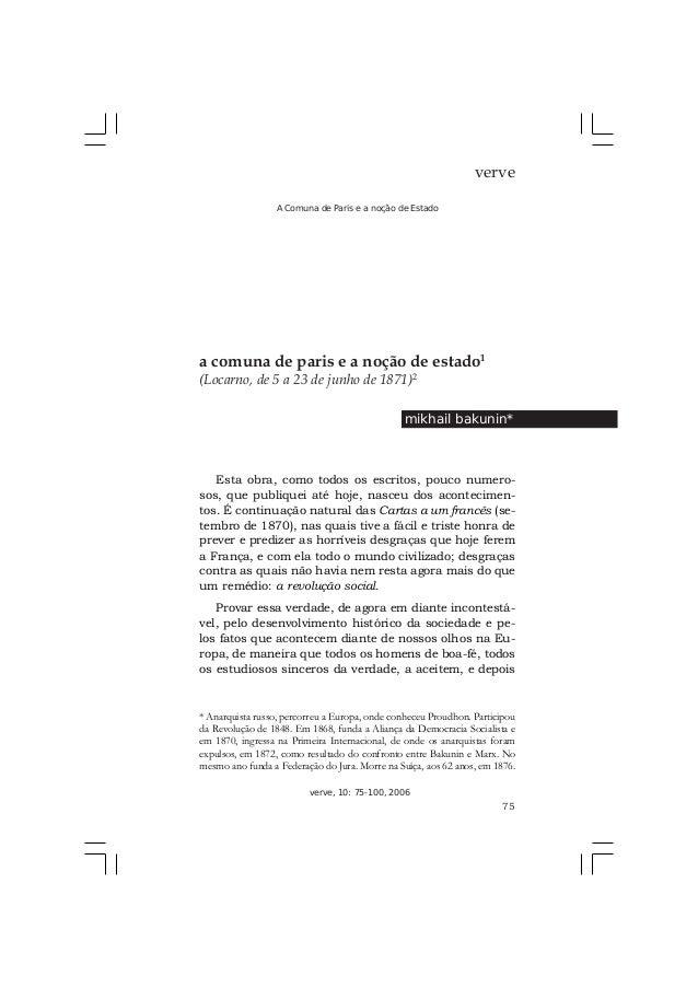 75 verve A Comuna de Paris e a noção de Estado a comuna de paris e a noção de estado1 (Locarno, de 5 a 23 de junho de 1871...
