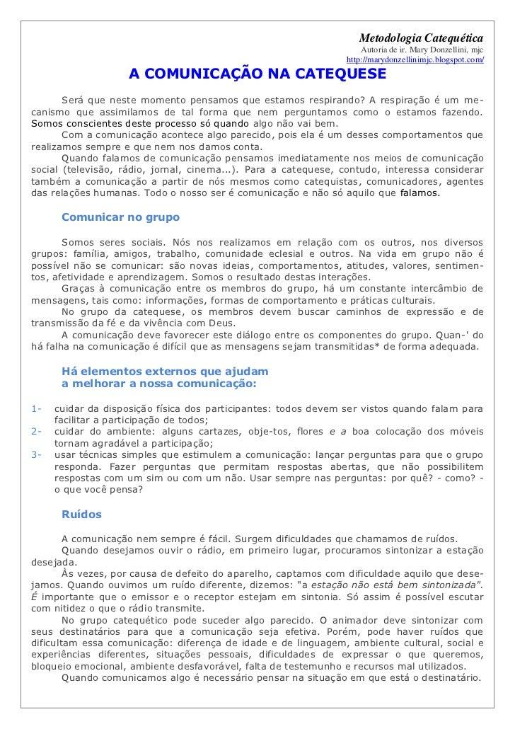 Metodologia Catequética                                                                    Autoria de ir. Mary Donzellini,...