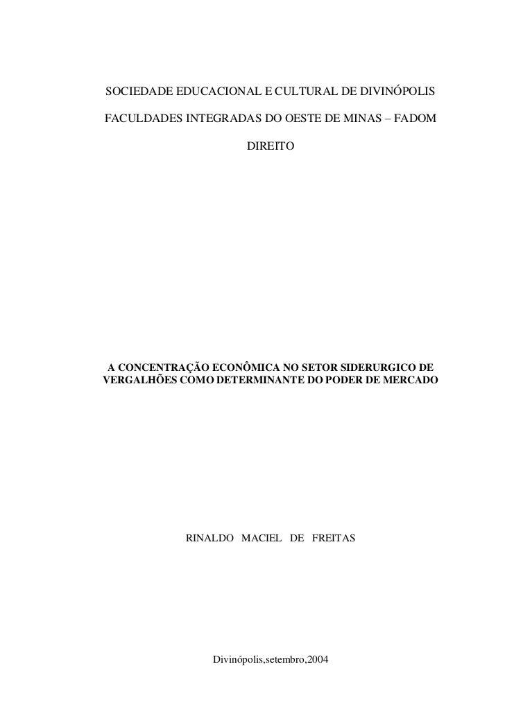 SOCIEDADE EDUCACIONAL E CULTURAL DE DIVINÓPOLISFACULDADES INTEGRADAS DO OESTE DE MINAS – FADOM                       DIREI...