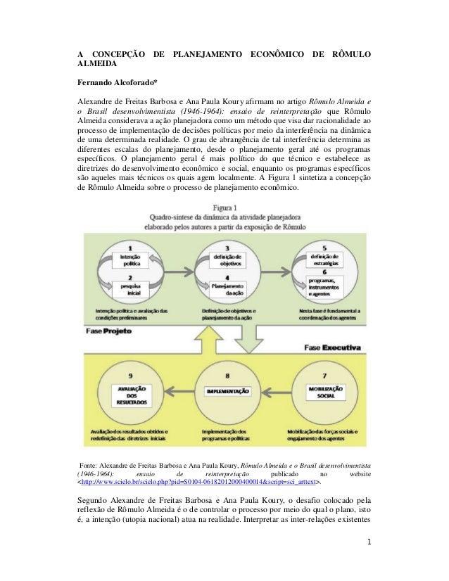 A CONCEPÇÃO DE PLANEJAMENTO ECONÔMICO DE RÔMULO  ALMEIDA  Fernando Alcoforado*  Alexandre de Freitas Barbosa e Ana Paula K...