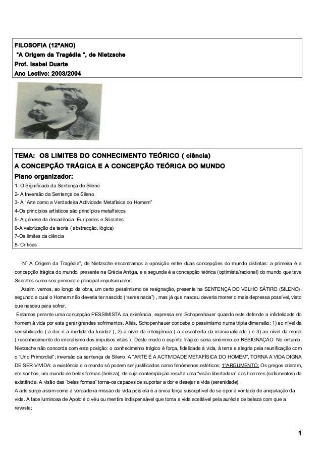 """FILOSOFIA (12ºANO) """"A Origem da Tragédia """", de Nietzsche Prof. Isabel Duarte Ano Lectivo: 2003/2004 TEMA: OS LIMITES DO CO..."""