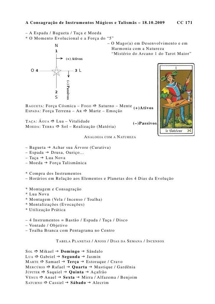 A Consagração de Instrumentos Mágicos e Talismãs – 18.10.2009                               CC 171  – A Espada / Bagueta /...