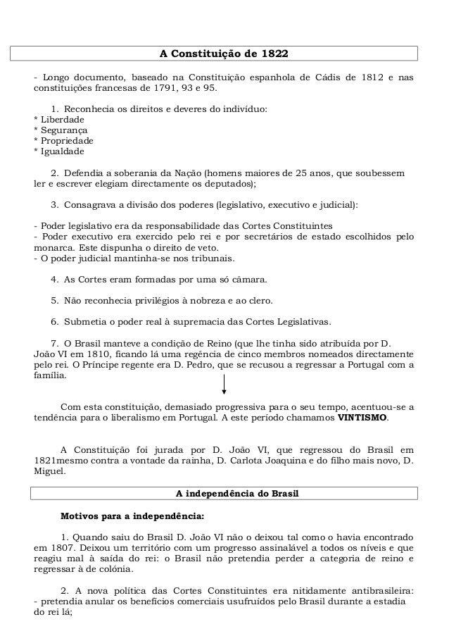 A Constituição de 1822 - Longo documento, baseado na Constituição espanhola de Cádis de 1812 e nas constituições francesas...