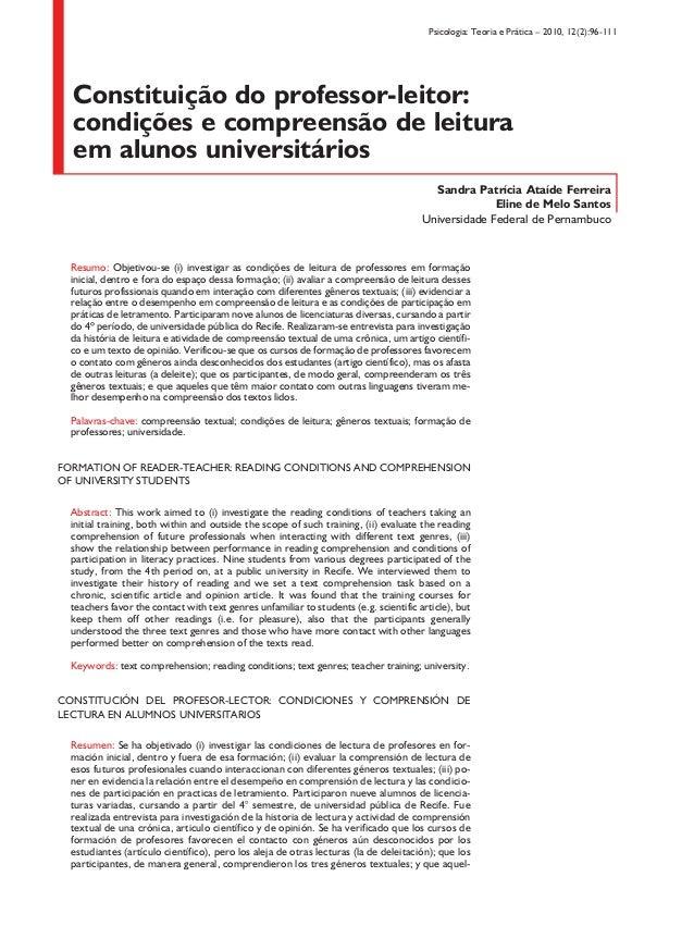 Psicologia: Teoria e Prática – 2010, 12(2):96-111 Constituição do professor‑leitor: condições e compreensão de leitura em ...