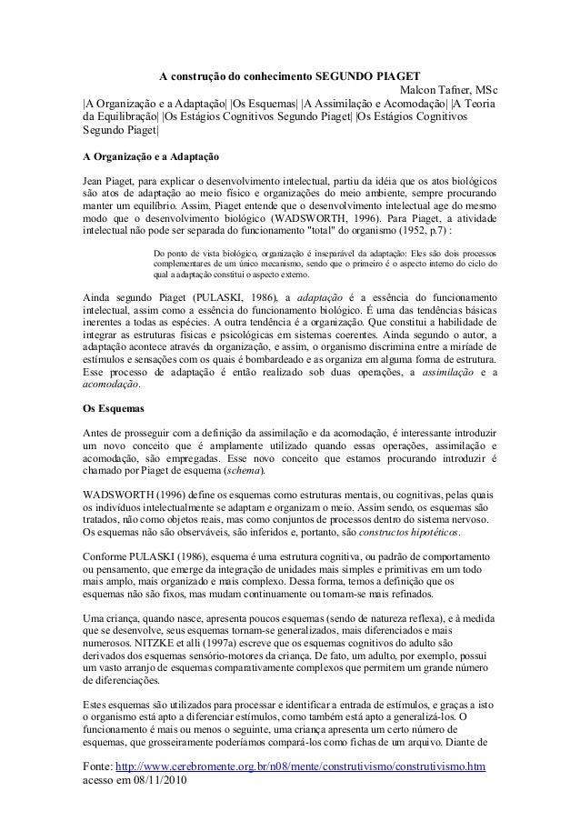 A construção do conhecimento SEGUNDO PIAGET Malcon Tafner, MSc |A Organização e a Adaptação| |Os Esquemas| |A Assimilação ...