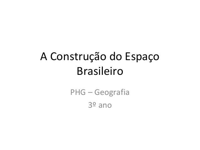 A Construção do Espaço Brasileiro PHG – Geografia 3º ano