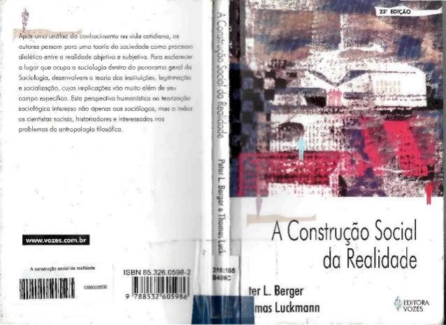 A construção social da realidade berger, p. l. e luckmann t.