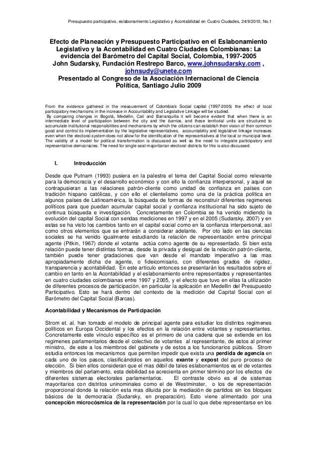 Presupuesto participativo, eslabonamiento Legislativo y Acontabilidad en Cuatro Ciudades, 24/9/2010, No.1 Efecto de Planea...