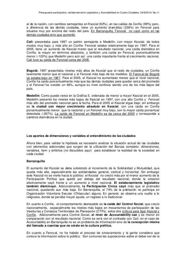 Presupuesto participativo, eslabonamiento Legislativo y Acontabilidad en Cuatro Ciudades, 24/9/2010, No.11 al de la nación...